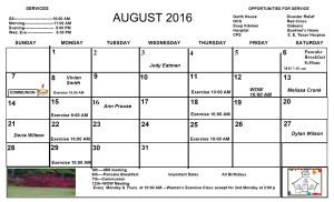 1 August.. Calendar 2016