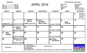 April Calendar 2016