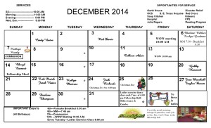 Dec 14 newsletter calendar