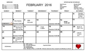 Feb.. Calendar 2016
