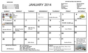 January Newsletter calendar