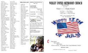 July NL Front Pg & Prayer List 2015