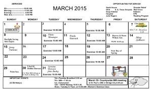 March Calendar 2015
