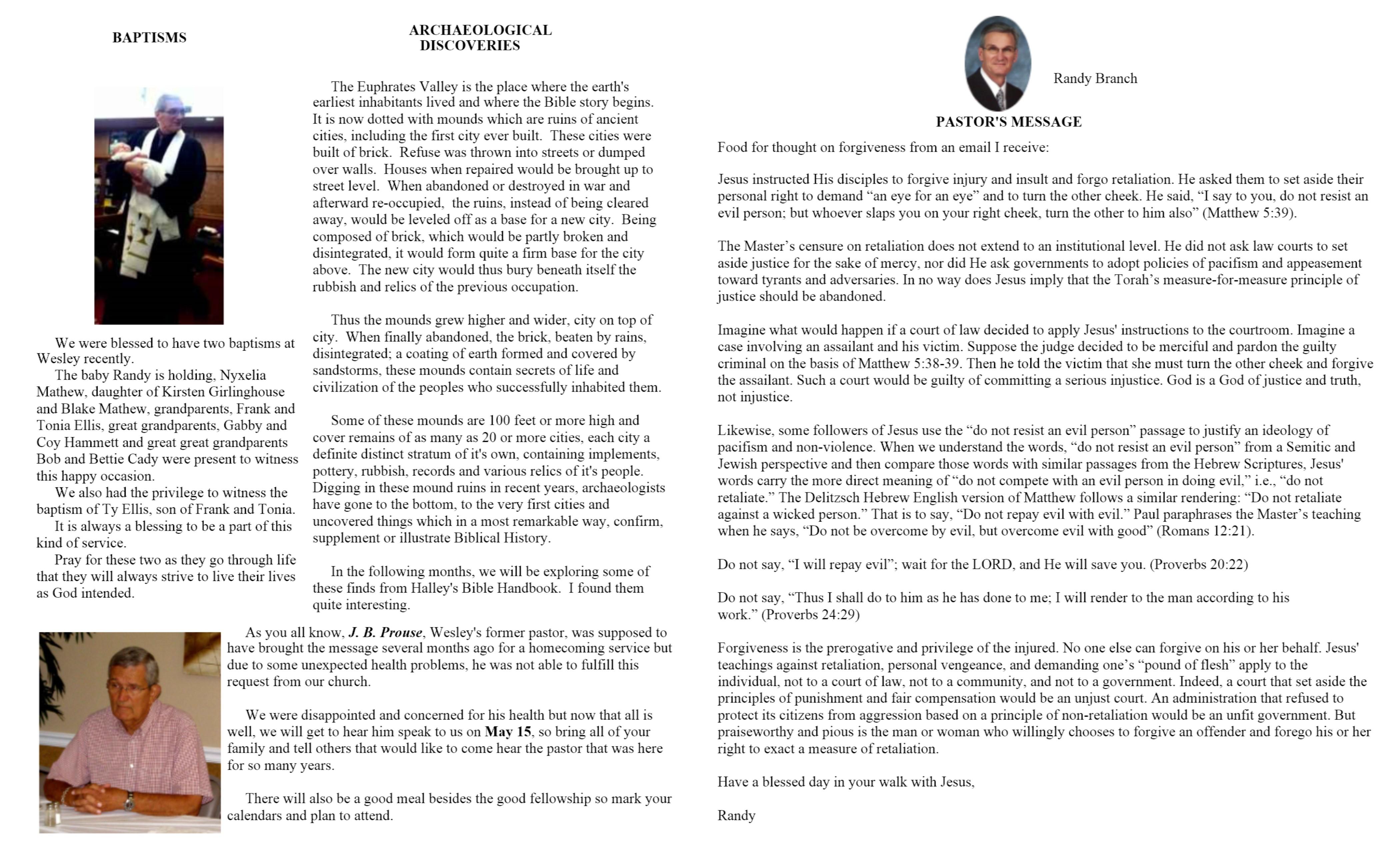 Wesley's Monthly Newsletter | Wesley United Methodist Church
