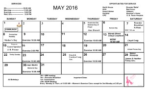 May Newsletter Calendar