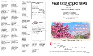 May Newsletter front page and prayer list