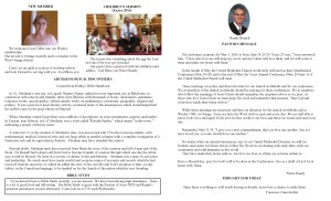 May Newsletter Pastor's article