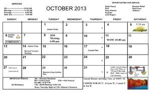 OCT. Calendar 2013