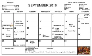 September 2016 Newsletter Calendar page