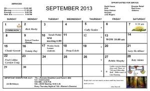 September. Calendar 2013
