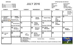 July Newsletter calendar 2016